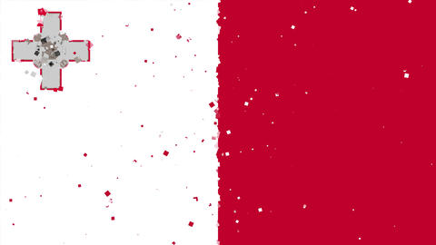 celebratory animated background of flag of Malta appear from fireworks Animation