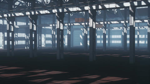 Empty abandoned factory building interior Animation
