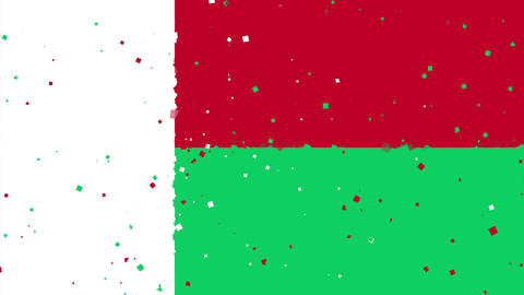 celebratory animated background of flag of Madagascar appear from fireworks Animation