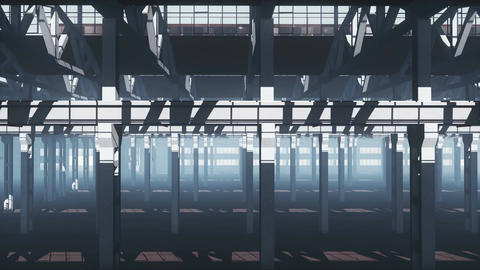 Deserted factory industrial building inside Animation