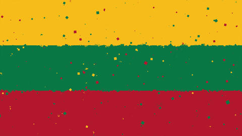 celebratory animated background of flag of Lithuania appear from fireworks Animation