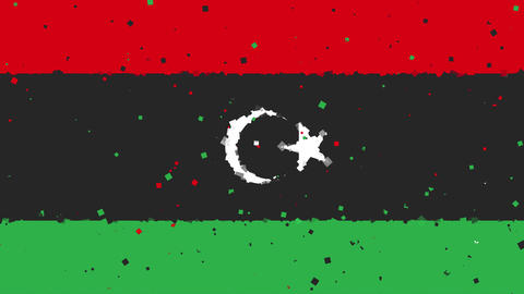 celebratory animated background of flag of Libya appear from fireworks Animation