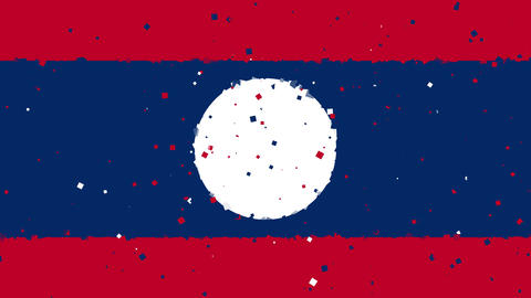 celebratory animated background of flag of Laos appear from fireworks Animation