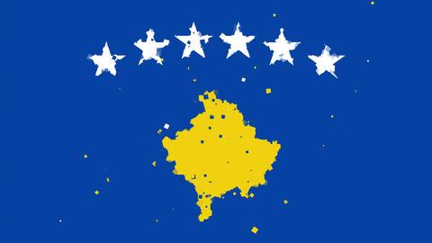 celebratory animated background of flag of Kosovo appear from fireworks Animation