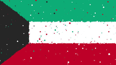 celebratory animated background of flag of Kuwait appear from fireworks Animation