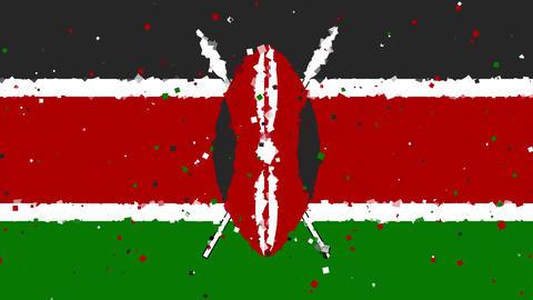 celebratory animated background of flag of Kenya appear from fireworks Animation