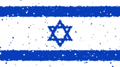 celebratory animated background of flag of Israel appear from fireworks Animation