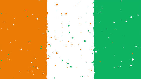 celebratory animated background of flag of Ivory Coast appear from fireworks Animation