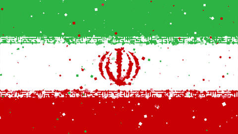 celebratory animated background of flag of Iran appear from fireworks Animation