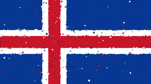 celebratory animated background of flag of Iceland appear from fireworks Animation