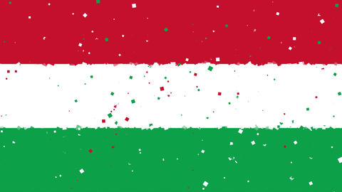 celebratory animated background of flag of Hungary appear from fireworks Animation