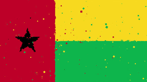 celebratory animated background of flag of Guinea-Bissau appear from fireworks Animation