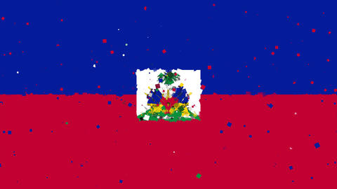 celebratory animated background of flag of Haiti appear from fireworks Animation