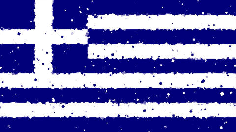 celebratory animated background of flag of Greece appear from fireworks Animation