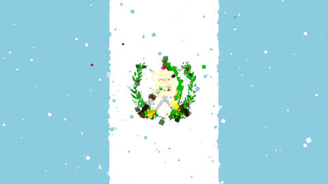 celebratory animated background of flag of Guatemala appear from fireworks Animation