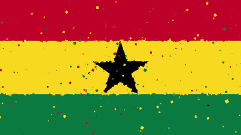 celebratory animated background of flag of Ghana appear from fireworks Animation