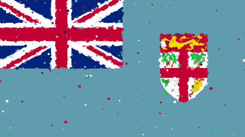 celebratory animated background of flag of Fiji appear from fireworks Animation