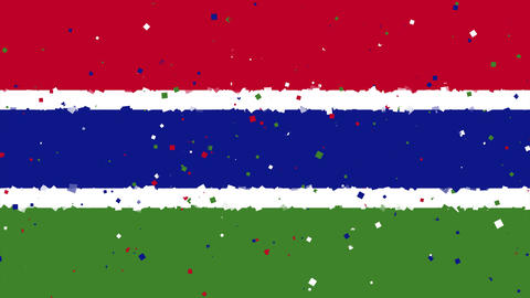celebratory animated background of flag of Gambia appear from fireworks Animation