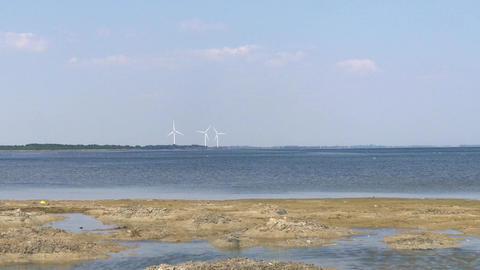 Three windmills in the distance Image