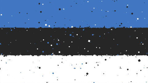 celebratory animated background of flag of Estonia appear from fireworks Animation