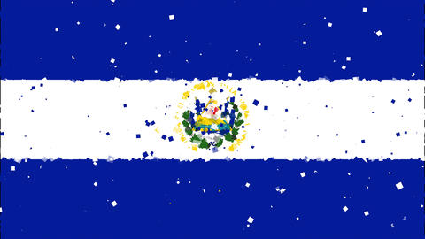 celebratory animated background of flag of El Salvador appear from fireworks Animation
