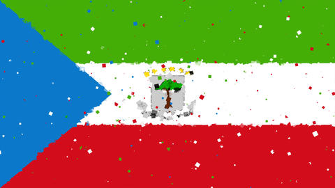 celebratory animated background of flag of Equatorial Guinea appear from firewor Animation