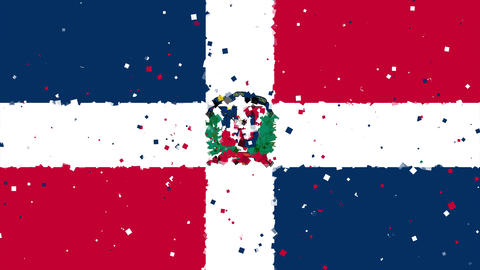 celebratory animated background of flag of Dominican Republic appear from firewo Animation