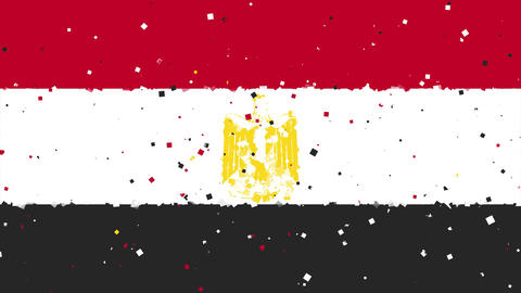 celebratory animated background of flag of Egypt appear from fireworks Animation