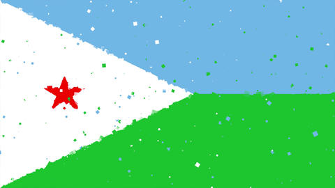 celebratory animated background of flag of Djibouti appear from fireworks Animation