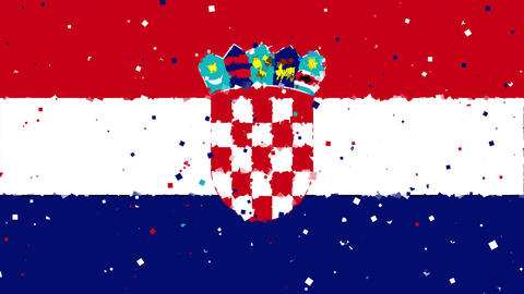 celebratory animated background of flag of Croatia appear from fireworks Animation