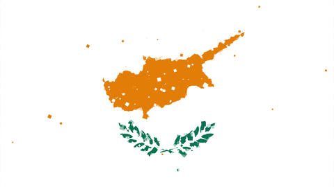 celebratory animated background of flag of Cyprus appear from fireworks Animation