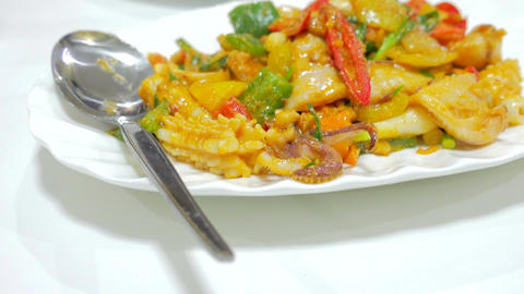 stir fried squid with curry powder and egg, Thai Traditional Cuisine Footage