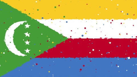 celebratory animated background of flag of Comoros appear from fireworks Animation
