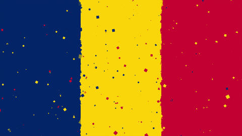 celebratory animated background of flag of Chad appear from fireworks Animation