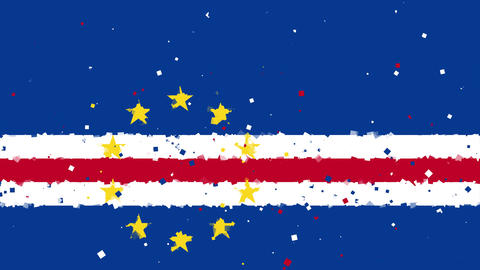 celebratory animated background of flag of Cape Verde appear from fireworks Animation