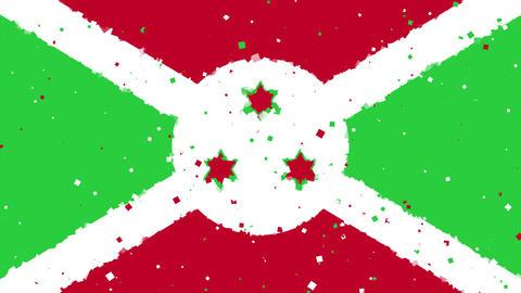 celebratory animated background of flag of Burundi appear from fireworks Animation