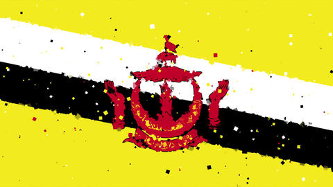 celebratory animated background of flag of Brunei appear from fireworks Animation