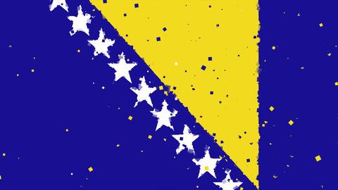 celebratory animated background of flag of bosnia and herzegovina appear from fi Animation