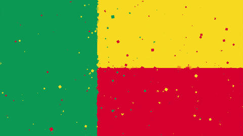celebratory animated background of flag of Benin appear from fireworks Animation