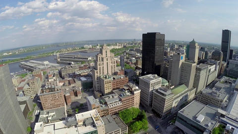 Aerial View Of Montreal Down Town And Saint Lawrence River stock footage