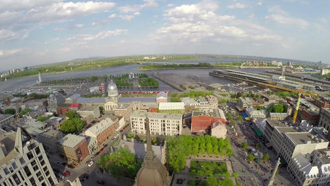 Aerial view of Montreal down town, Old Port, and Saint Lawrence River Footage