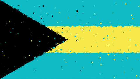 celebratory animated background of flag of Bahamas appear from fireworks Animation