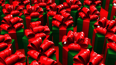 Christmas Gift Boxes On Red Background CG動画素材
