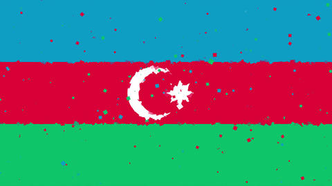 celebratory animated background of flag of Azerbaijan appear from fireworks Animation