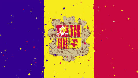 celebratory animated background of flag of Andorra appear from fireworks Animation