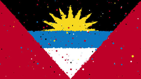 celebratory animated background of flag of Antigua and barbuda appear from firew Animation