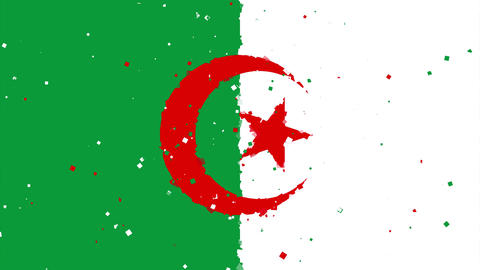 celebratory animated background of flag of Algeria appear from fireworks Animation