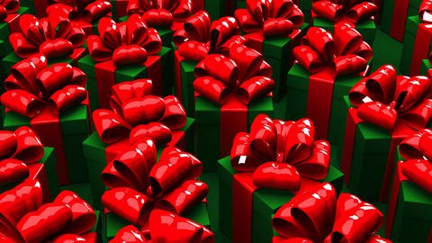 Christmas Gift Boxes On Green Background CG動画