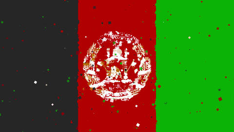 celebratory animated background of flag of Afghanistan appear from fireworks Animation