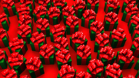 Christmas Gift Boxes On Red Background Animation